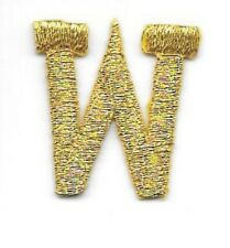 """1"""" Tall Bright Metallic Gold Monogram Block Letter W Embroidery Applique Patch"""