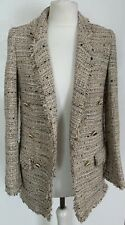 Zara Womens Designer Metallic Tan Brown Woven Frill Jacket Blazer Size: EUR S