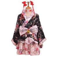 Details about  /Lolita Girls Pink Sakura Floral Pattern White Kimono Dress Anime Cosplay Dress