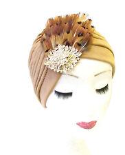Hellbraun Gold Fasan-feder Turban Kopfbedeckung Vtg Glocke 1940er Jahre Hut Haar