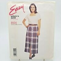 Easy Plus Size Top Button Front Skirt Sewing Pattern 8504 McCalls 16 18 20 22