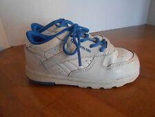 "Infant boys Reebok Classic tennis shoes, size 7.5, ""peek n' fit"", white, blue"