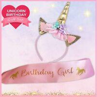 CUTE Unicorn Birthday Girl Set Party Decorations & Favors PINK Satin Sash