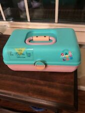 1980s Vintage  Caboodles Make-Up Cosmetics Case Pink Green