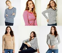 M&S Marks Spencer Ladies Women STRIPED ROUND Neck Long Sleeve T Shirt Blouse Top