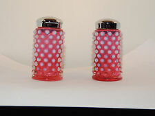 Fenton Cranberry Hobnail Salt and Pepper Shakers over 3 inches tall (12367)