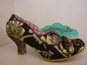 Irregular Choice Hold Up Black Floral Gold Ladies Bow Low Heel Shoe