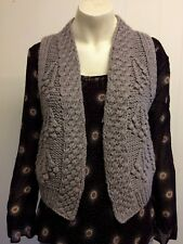 Gorgeous Taupe Beige Wool Blend Knitted Waistcoat from M&S - Size 10 - Great!
