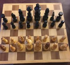 Carved Wooden Chess Set Board Game Vintage Complete Pieces Inlaid Wood