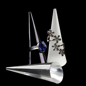 Acrylic perspex cone finger ring jewellery display stand holder showcase