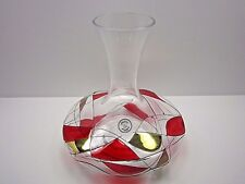 Hand Crafted Romanian Crystal Ruby Red Raised Gold Outline Accents Carafe
