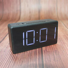Black LED Digital Alarm Clock Time Temperature with Large Easy-Read Display