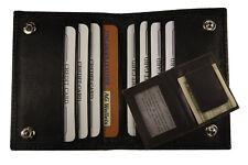 Real Leather Magnetic Money Clip Slim Credit Card Id Holder Black Men's Wallet