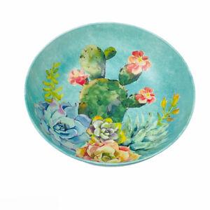 "Desert Cactus Succulents Pastel Blue Melamine 12"" Salad Pasta Chips Serving Bowl"