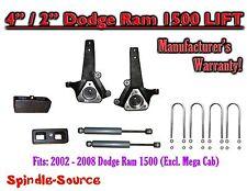 "2002 - 2008 Dodge Ram 1500 2WD 4"" Front 2"" Rear Spindle Lift Kit W/ REAR SHOCKS"