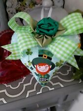 Shabby Happy St. Patricks Day Shamrocks Good Luck Decorative Heart Ornament