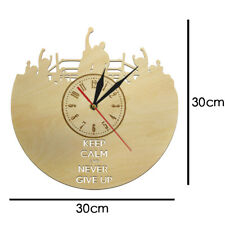 Keep Calm and Never Give Up Motivational Wall Clock Keep Boxing Wood Mute Watch