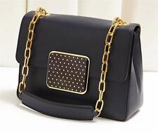 SONIA RYKIEL Indigo Blue Leather Chain Strap Bag Handbag Purse Tote Satchel NEW
