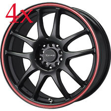 Drag Wheels DR-31 18x8 5x114 Black w/ Red Stripe Rims For TC Lancer Accord XB