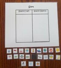 Space themed laminated Sort Objects activity for preschool child learning game