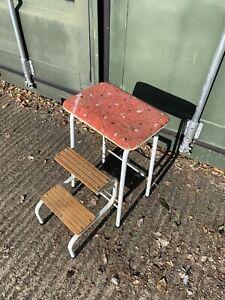 Vintage Stool Steps Chair Retro Kitchen Folding Vinyl 50s 60s Atomic Sputnik