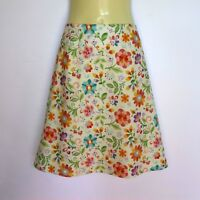 Cream Floral Print A Line Skirt - ladies sizes 8 - 18 avail, daisy flower retro