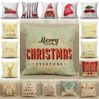 Christmas Cotton Linen Pillow Case Cushion Cover Sofa Home Bed Car Decor 18x18''
