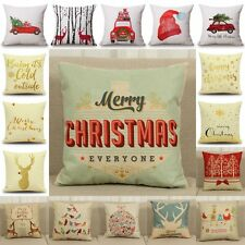Christmas Cotton Linen Pillow Case Cushion Cover Sofa Home Bed Car Decor 18x18''