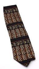 Tesoro Rosso Neck Tie Geometric Tribal Silk Handmade Brown Golden Black Copper