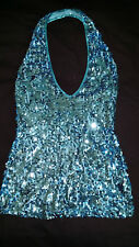 Aqua Blue Sequin Halter Neck Low Back Dress - Top