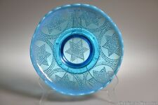 ca. 1908 BEADED STARS & SWAG by Fenton Art Glass BLUE OPAL.  Footed Bowl