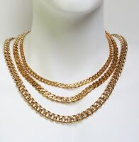 Stainless Steel  Miami Cuban Link Chain 18K Gold Plated widths from 8 to 12mm