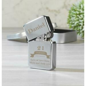 Personalised Birthday Silver Lighter & Gift Box men or women 21st 30th 40th 50th