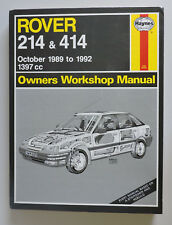 Rover 214 & 414 Haynes Owners Workshop Manual 1989 to 1992 1397cc Petrol
