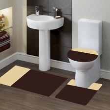 #7 2Tone Brown/Beige Banded Bath Mat Countour Rug Lid Coverbathroom 3Pc Set