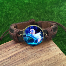 Unicorn Pegasus Cabochon Bracelet Leather Magical Fantasy Alicorn Horse Jewelry
