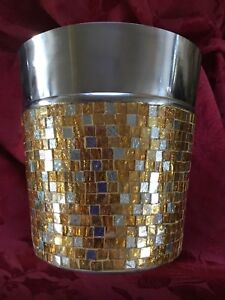 NEW FLAWLESS Exquisite MOSAIC TILE Glass & Stainless Steel ICE BUCKET HOLDER