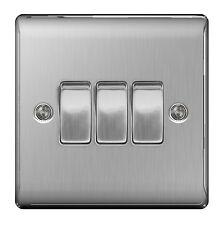 BG Nexus Metal NBS43 - STAINLESS STEEL Triple Switch 3 Gang 2 Way Brushed Satin