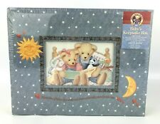 "Blue Jean Teddy - Baby's Keepsake Box - 11.75"" x 9.25"" x 2.75"""