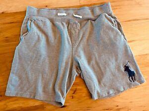 Nice! POLO RALPH LAUREN 100% Cotton Drawstring Gray BIG HORSE LOGO shorts XL