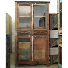 Massiver Schrank Vintage-Look Recycling Holz Vitrinenschrank Bücherschrank