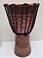 BONGO DJEMBE DRUM CHILDREN'S KIDS TRIBAL CARVED HEIGHT BUDI 30CM 15-16cm head