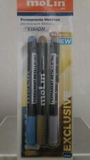 3 Rotuladores permanentes metálicos Azul Oro Plata para plastico metal vidrio