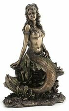 Elegant Mermaid On Rock Statue Sculpture Figurine *New*
