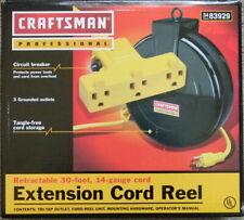 CRAFTSMAN PROFESSIONAL RETRACTABLE 30' 14 GA 3 OUTLET GARAGE EXTENSION CORD REEL