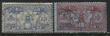 French New Hebrides 1925 50 centimes and 1 franc used