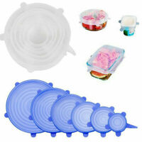 6Pc Reusable Silicone Wraps Bowl Stopper Seal Cover Stretch Lids Keep Food Fresh