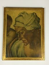 Head Of CUMAEAN SIBYL Wood Painting Greek Prophetess MICHELANGELO Made in Italy