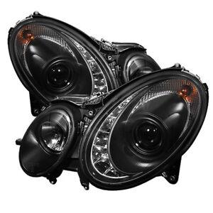Mercedes Benz W211 03-06 E320 E350 E500 E55 Black DRL LED Projector Headlights