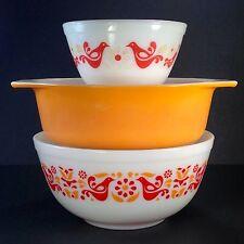 Lot 3 Vtg Pyrex 401 403 043 Dishes 2 Friendship Mixing Bowls & Orange Oval Baker